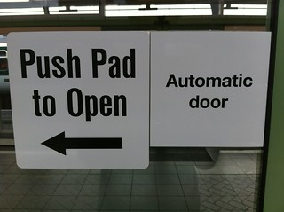 Push Pad to Open Automatic door. Right...