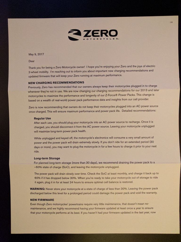 Email From Zero: Updated Firmware and Charging Recommendations