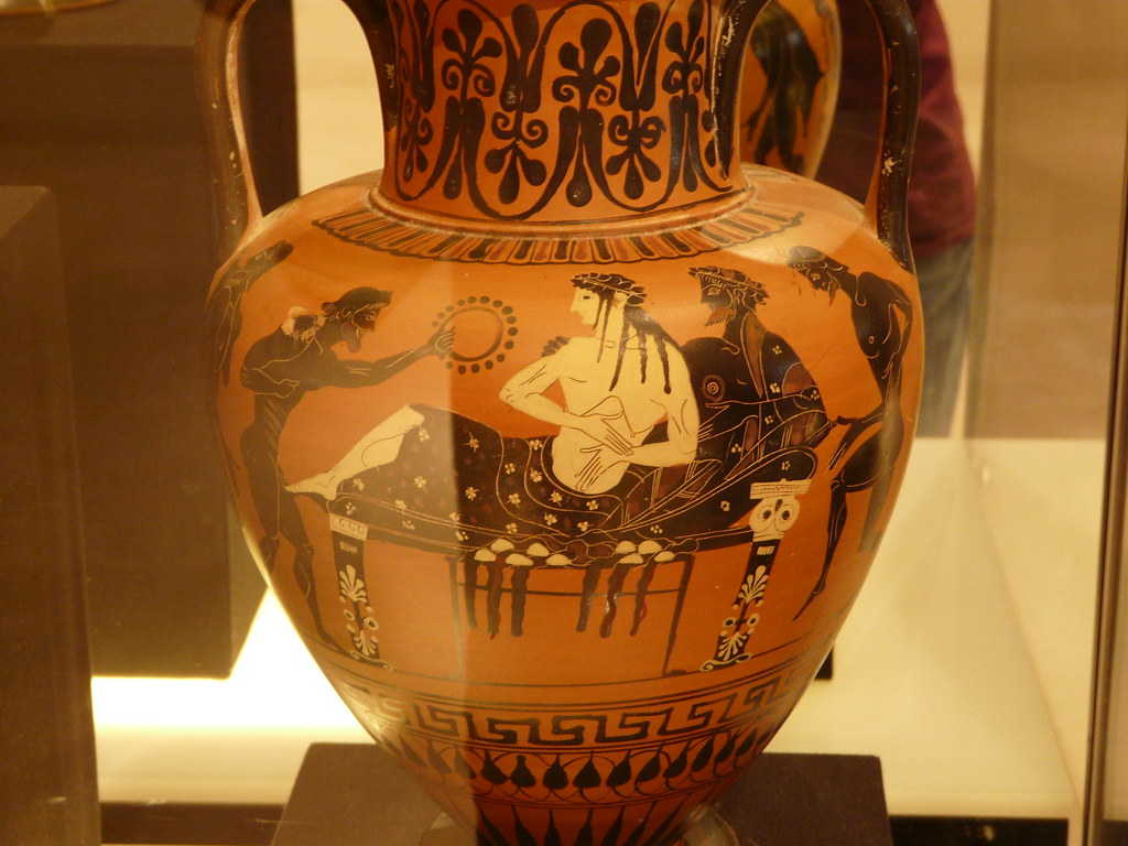 Reclining Aristocrats on Ancient Greek Vase