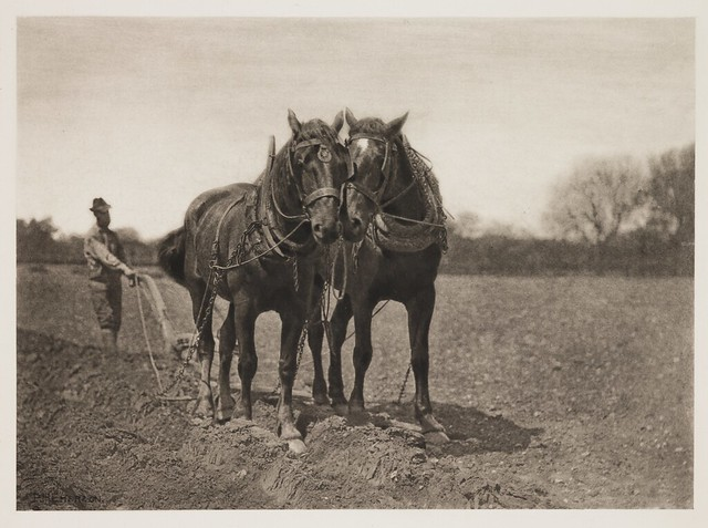 At Plough - The End of the Furrow, by Peter Henry Emerson
