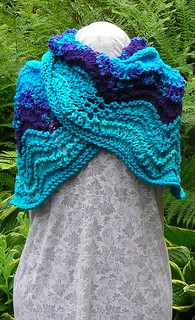 Turquoise Feather and Fan Shawl
