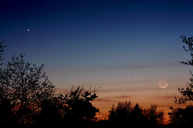 Venus, Mercury and young crescent Moon