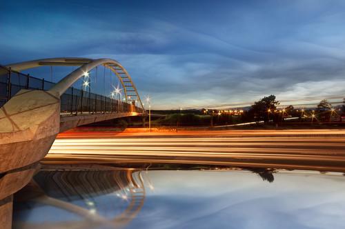 bridge blue light sunset moon reflection bikepath berkeley nikon overpass freeway interstate streaks 80 aquaticpark 580 d90