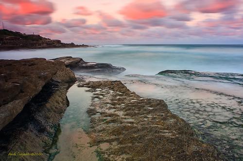 sunset seascape beach afternoon sydney australia late maroubra rockscape southeastern