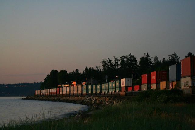 Dusk Lit Train Cars