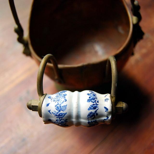 Vintage Copper Pot with Ceramic Handle