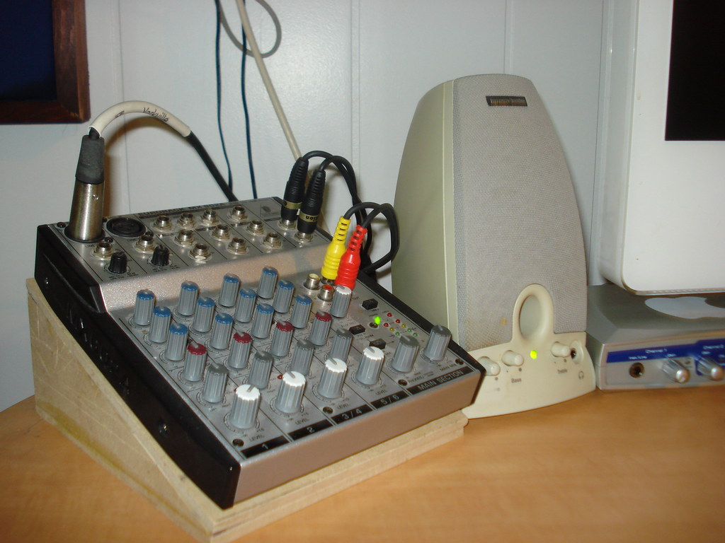 Mixer on homemade stand