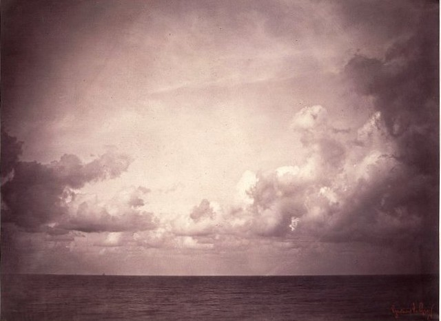 Seascape with Cloud Study; Vue de mer, Ciel Nuageux, by Gustave Le Gray 1856-7