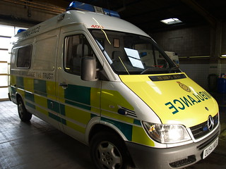 Oxfordshire Ambulance Service - Mercedes-Benz Sprinter when new at Didcot ambulance station; 2006.