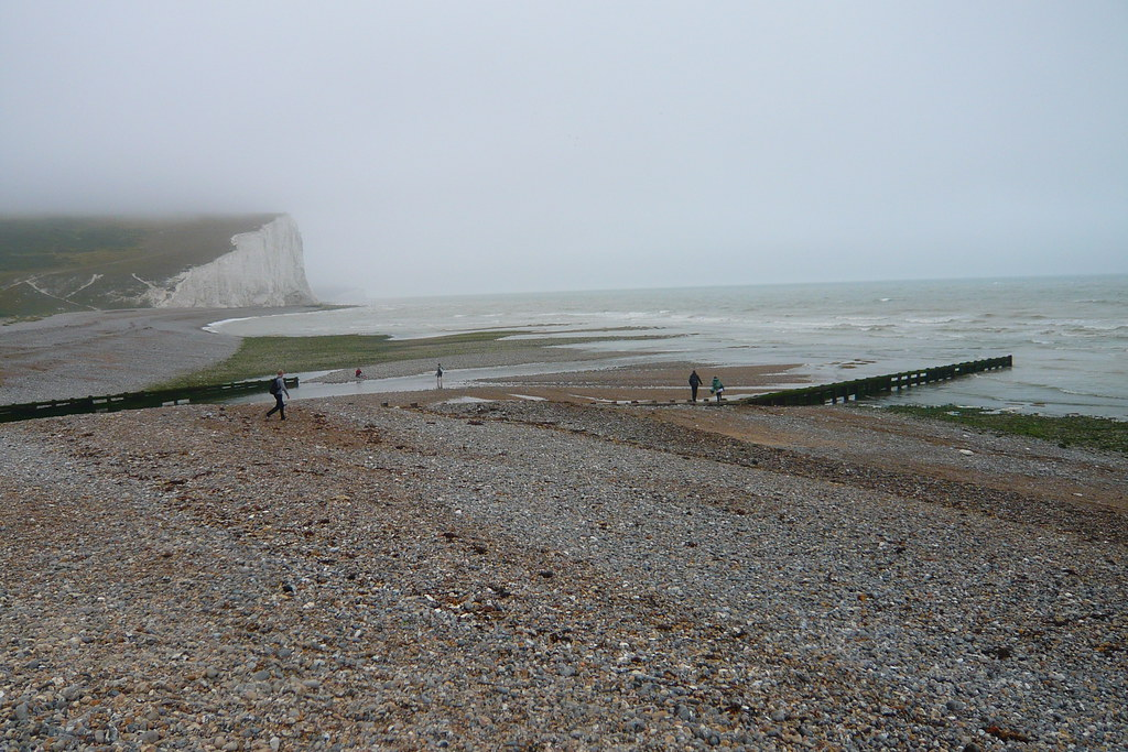 Cuckmere Haven Beach with one of the Seven Sisters in the background
