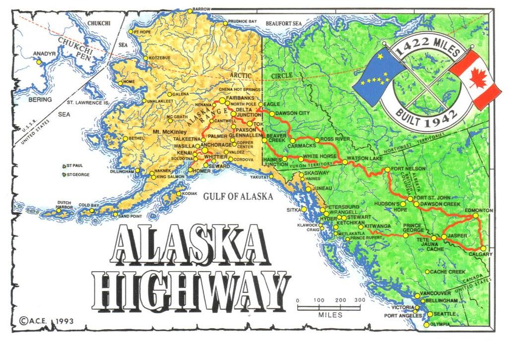 Map Of Alaska Highway System.Alaska Highway Map Postcard Erin Flickr