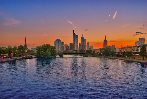 from city bridge sunset summer church clouds river germany europe frankfurt centre main central center brücke hdr mainhattan flösser
