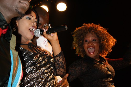 <p>Oumou Sow and her dancer Fatou work together to entertain the crowd.</p>