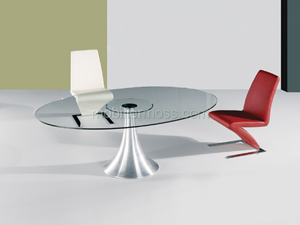 Capri table de salle a manger en verre avec plateau ovale flickr photo - Table ovale pied central design ...