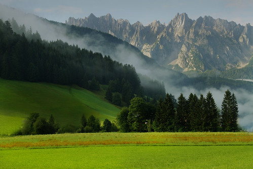 morning mountain green field canon landscape austria view dachstein gosau 500d