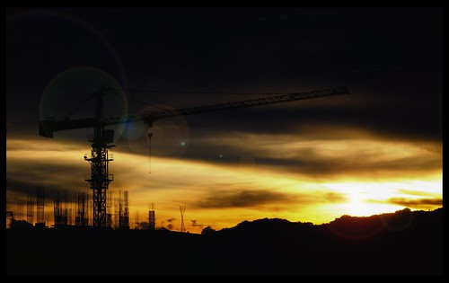 Sunset at the Construction