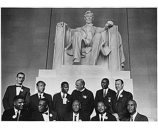 Civil Rights March on Washington, D.C. [Leaders of the march posing in front of the statue of Abraham Lincoln, Lincoln Memorial.], 08/28/1963