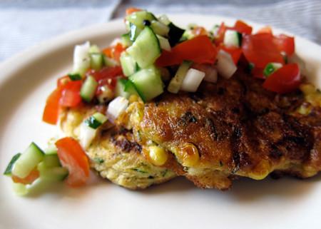 Zucchini & Sweet Corn Fritters with Fresh Tomato-Cucumber Relish