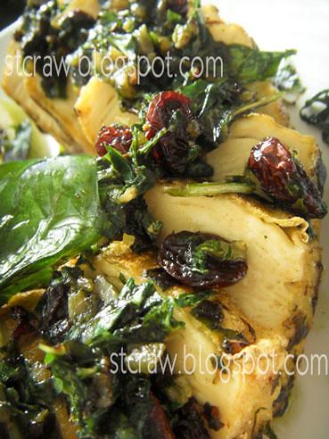 Mock Chicken with Basil Raisin Sauce