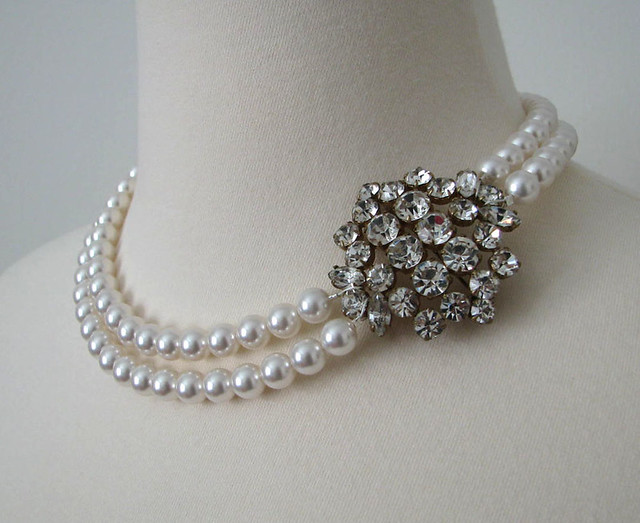 Pearl & Diamond Necklace by Mercury Jane
