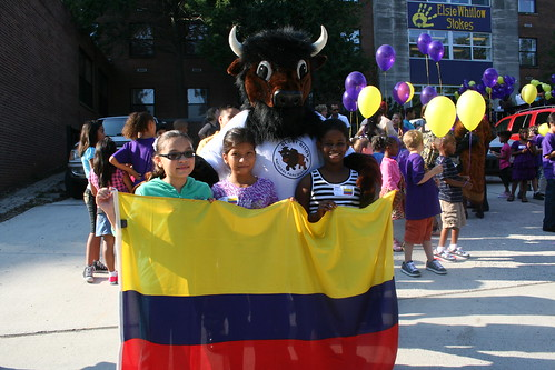 Buddy Bison with students at Elsie Stokes' 1st Day of School Celebration