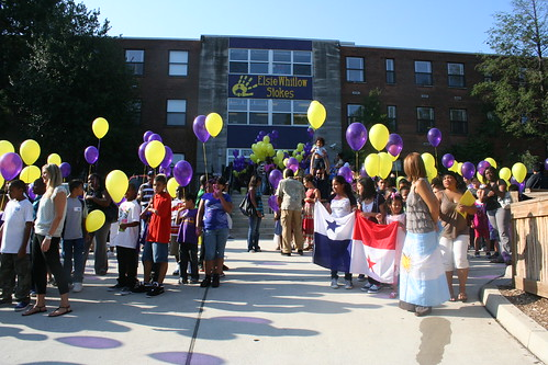 Students at Elsie Stokes' 1st Day of School Celebration