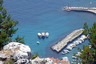 Bird's eye view over a bay in Dubrovnik, Croatia
