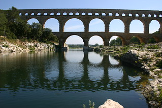 Pont du Gard river reflection
