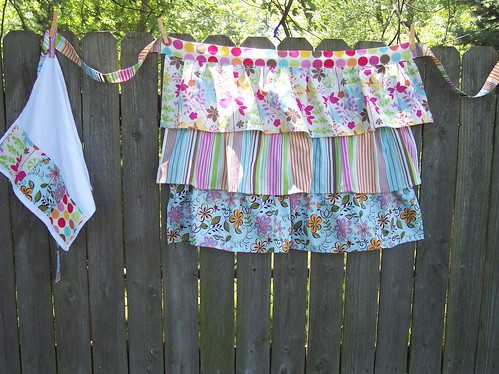 Three ruffle Apron with Towel