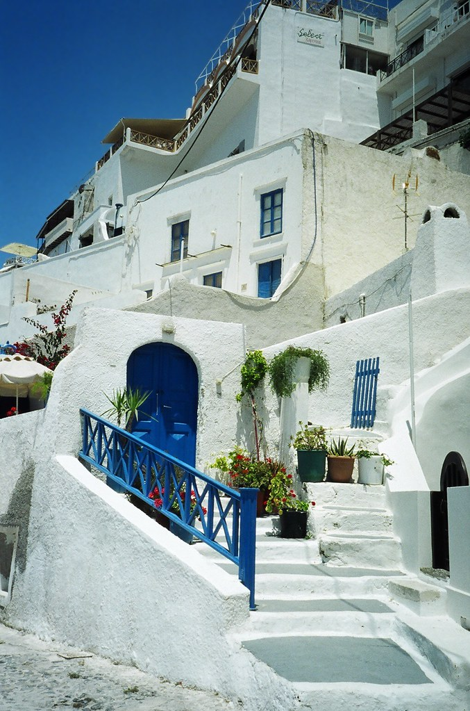 Classical Blue and White, Street Scene, Fira, Santorini, Cyclades, Greek Island, Greece