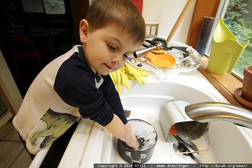 washing the dishes for his sick dad
