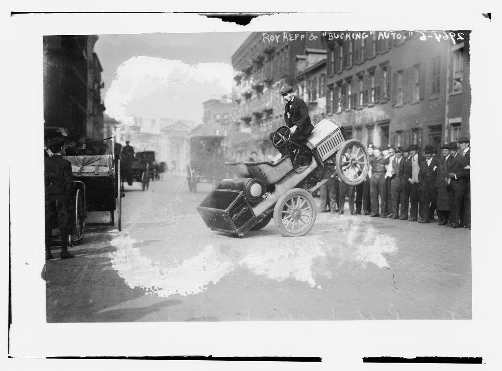 Roy Repp and bucking auto (LOC) | Bain News Service,, publis