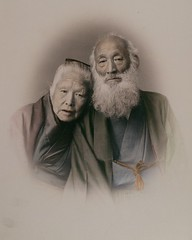 Affectionate portrait of old couple, by Ogawa Kazumasa c.1890