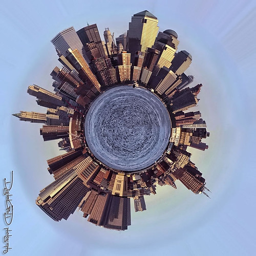 NYC South Manhattan Little Planet - West Side Panorama New York City