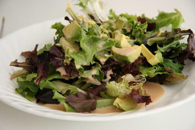 Organic salad with avocado