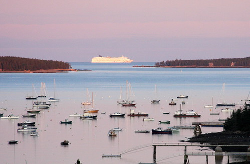 A cruiseship in the background at Bar Harbor, Maine, USA.