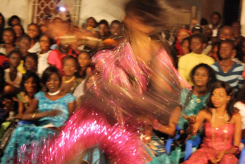 <p>Dancer Nogaye Ngone shows off her lighting-fast twirls and matching coture.</p>