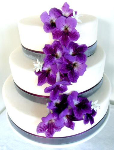 Cascading Purple Flower Wedding Cake
