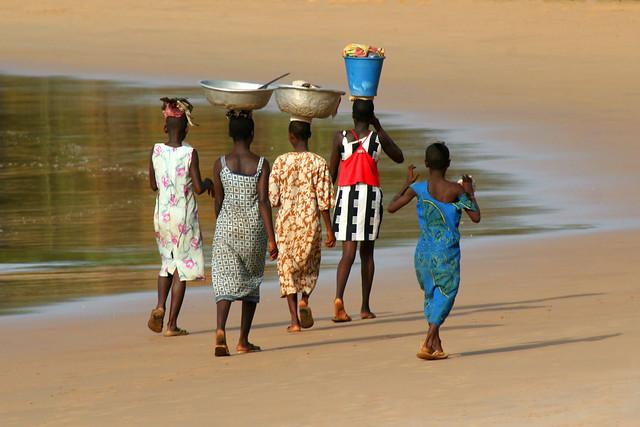 Walking home at Takoradi beach in Ghana.