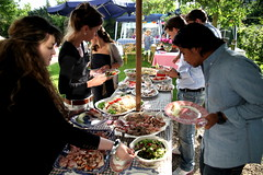 market(0.0), barbecue(0.0), city(0.0), public space(0.0), eating(0.0), meal(1.0), lunch(1.0), meat(1.0), food(1.0), dish(1.0), picnic(1.0),