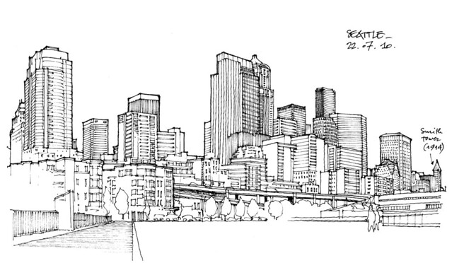 Seattle Skyline Drawing Medium 640 × 373