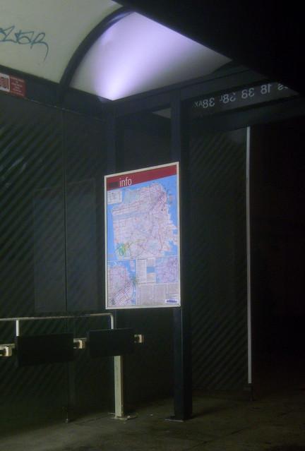 Muni bus stop in The Richmond, San Francisco, night. (2008)