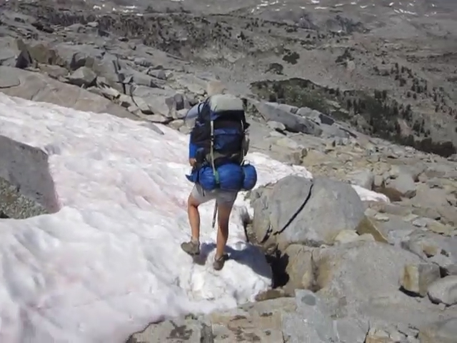 2257 Video of crossing a patch of pink snow on the PCT north of Donohue Pass