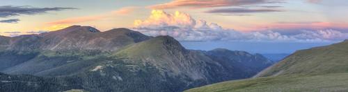 sunset panorama mountains clouds rmnp portfolio hdr highdynamicrange rockymountainnationalpark trailridge lavacliffs portfolio:filter=landscapes