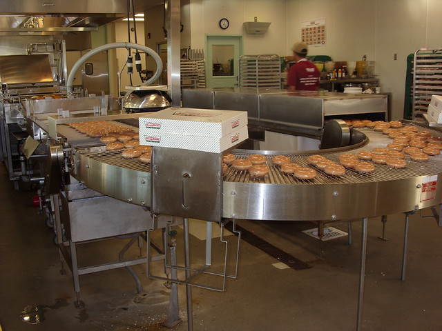 Watch the Krispy Kreme Dougnuts being made...