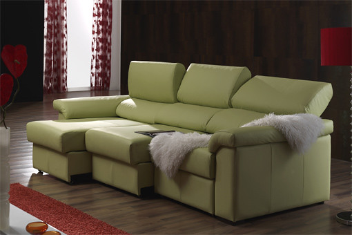 Sofa granfort tres plazas con chaise longue derecha en for Sofas de piel con chaise longue