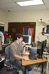 Ethan, cutting video in the DACC ITA recording studio