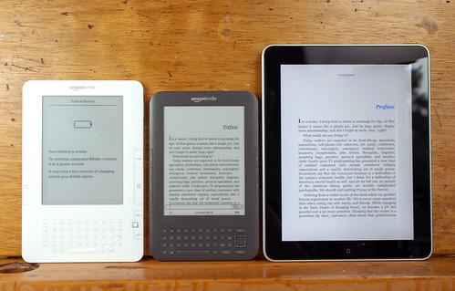 Kindle 2, Kindle 3, and iPad