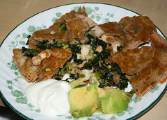 Shrimp and kale quesadilla