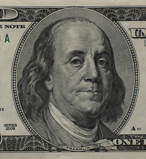 Benjamin Franklin's portrait on a US 100 dollar bill (2013)
